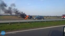 Pożar bmw na A4