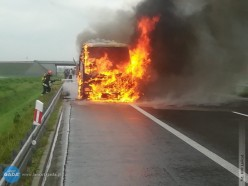 Pożar autobusu na A4
